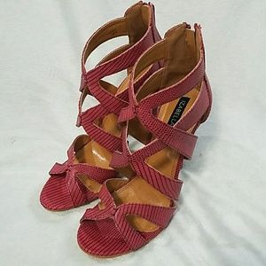Red Strappy Heels, Size 9